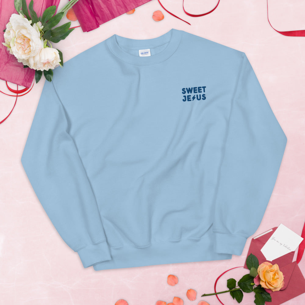 Sweet Jesus Custom Embroidered Pullover Crewneck Sweatshirt