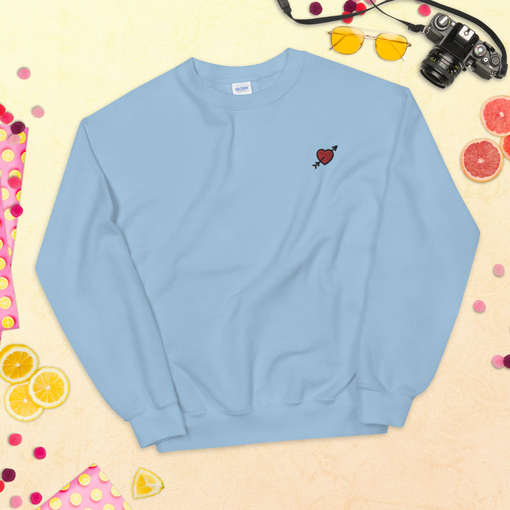 Heart With Arrow Sweatshirt Custom Embroidered Pullover Crewneck