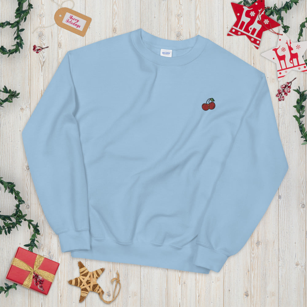 Cherry Sweatshirt Custom Cute Fruit Embroidered Pullover Crewneck