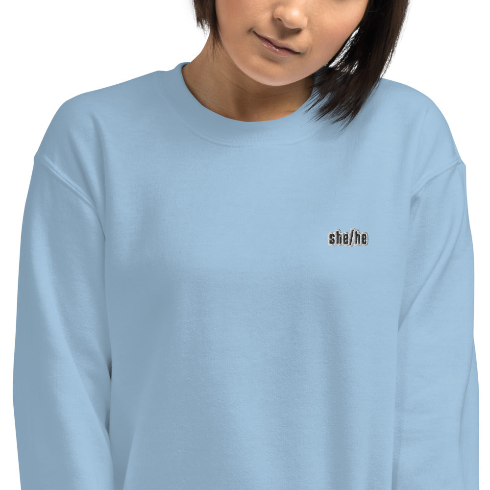 She He Gender Pronouns Embroidered Pullover Crewneck Sweatshirt