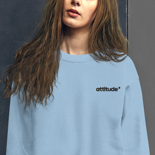 Attitude Sweatshirt Custom Embroidered Pullover Crewneck for Women