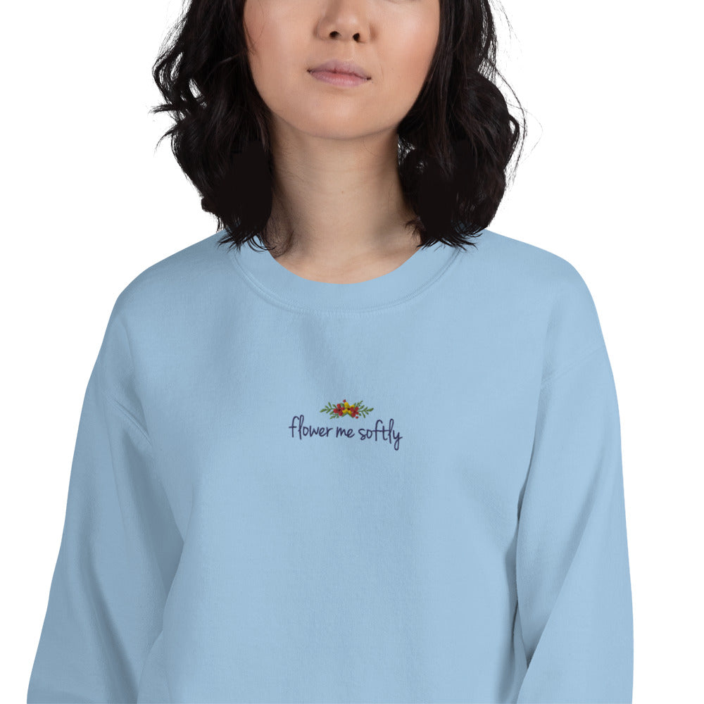 Flower Me Softly Embroidered Pullover Crewneck for Women