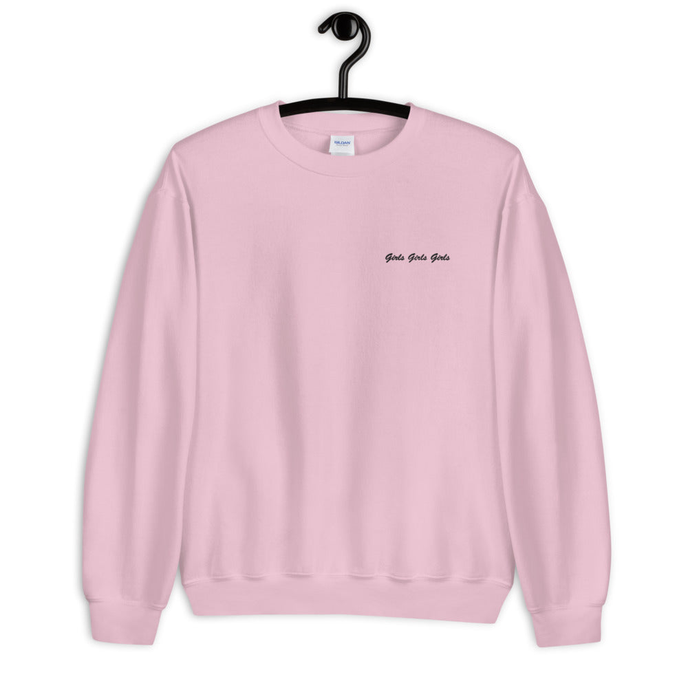 Embroidered Girls Girls Girls Crewneck Sweatshirt for Women