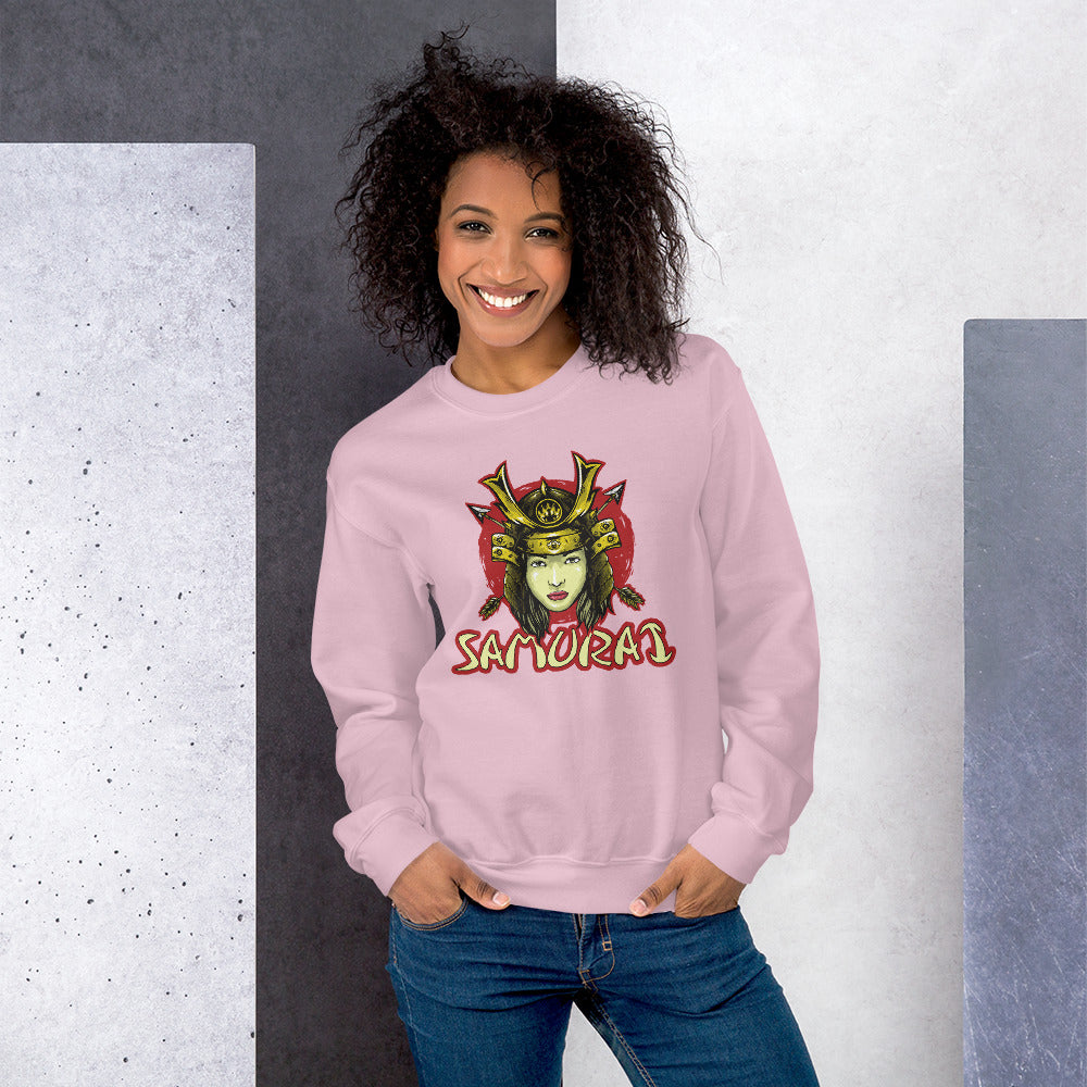 Female Japanese Samurai Graphic Crewneck Sweatshirt for Women