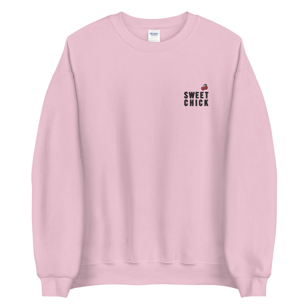Sweet Chick Sweatshirt Cute Embroidered Pullover Crewneck