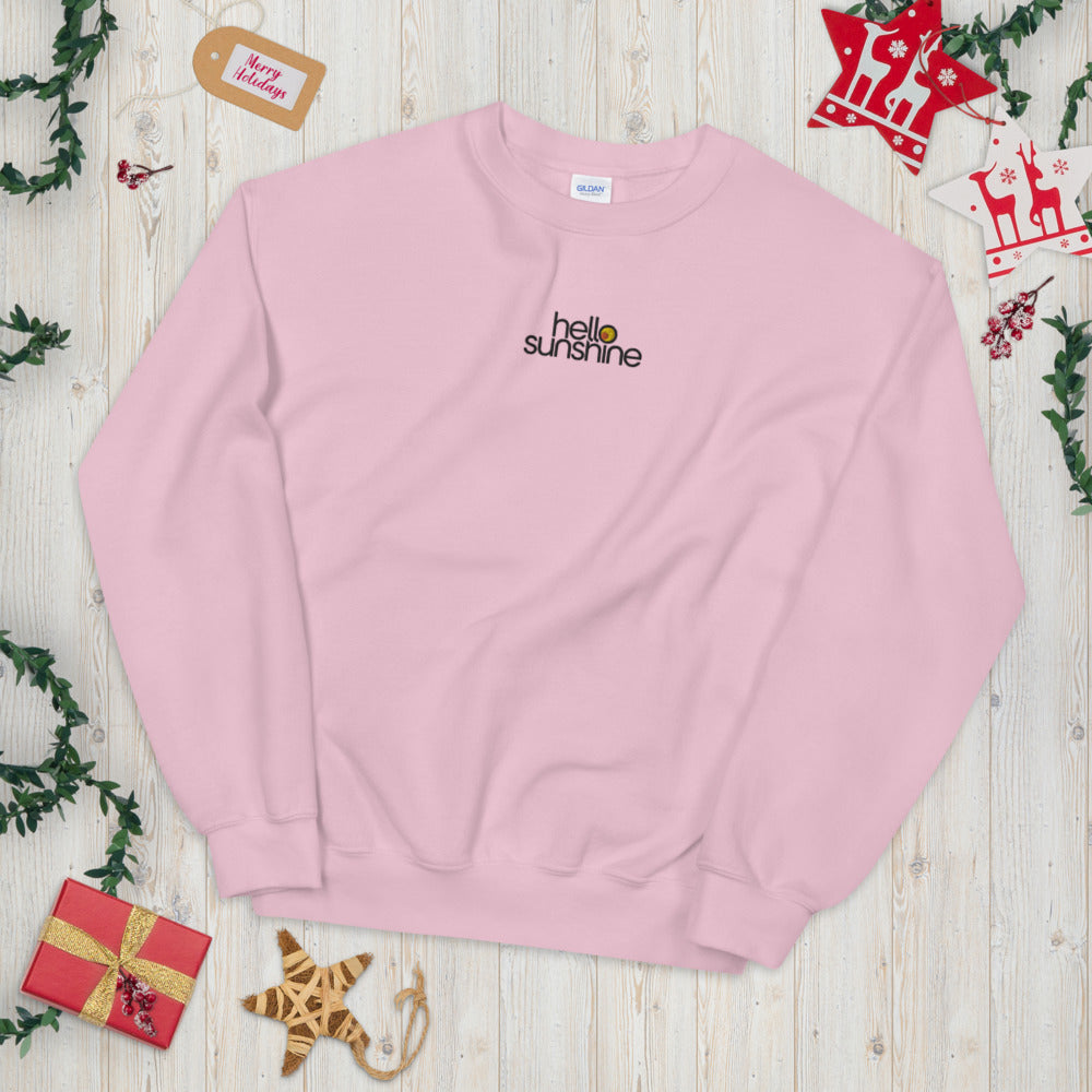 Hello Sunshine Custom Embroidered Pullover Crewneck Sweatshirt