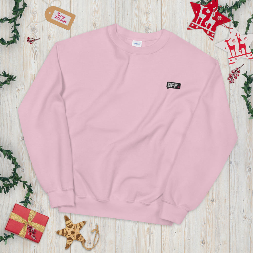 BFF Heart Notification Custom Embroidered Pullover Crewneck Sweatshirt