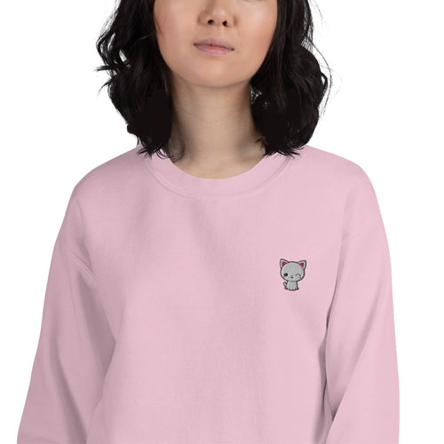 Kawaii Cat Embroidered Pullover Crewneck Sweatshirt for Women