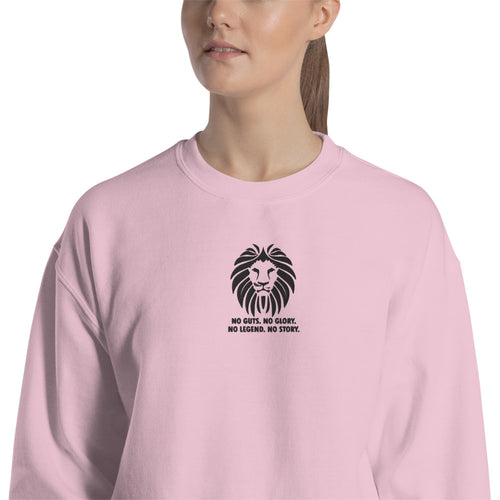 Lion Embroidered Pullover Crewneck Sweatshirt