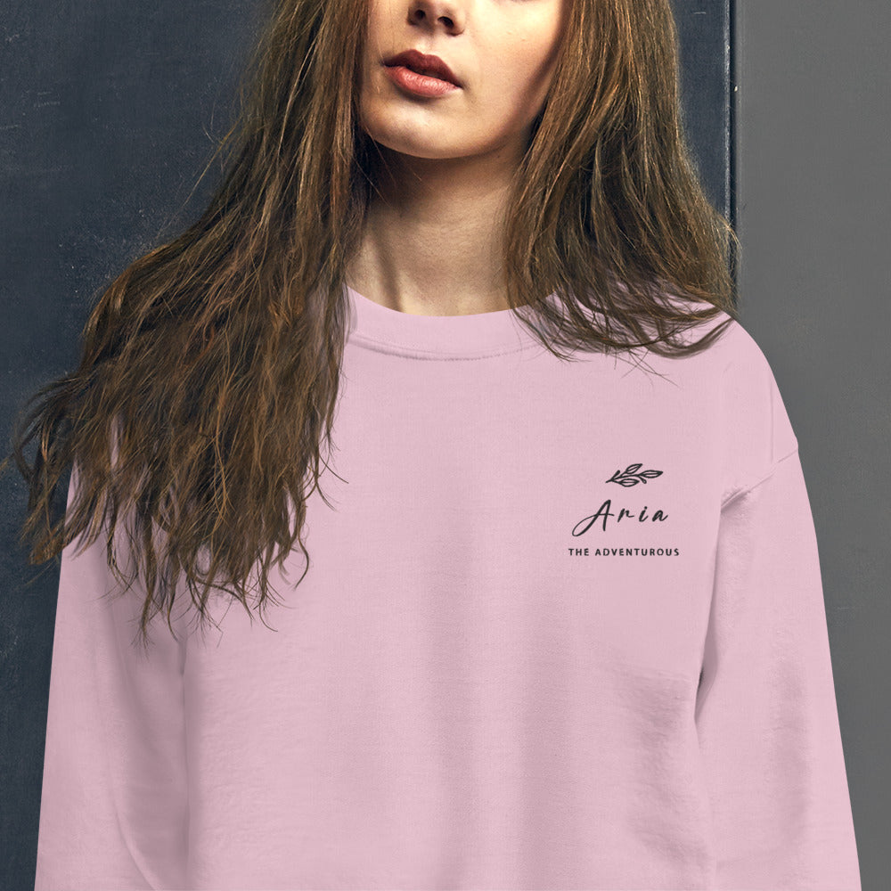 Aria Sweatshirt | Personalized Name Embroidered Pullover Crewneck