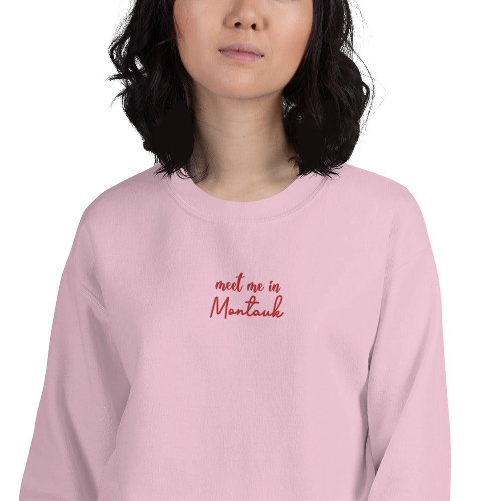 Meet Me in Montauk Embroidered Pullover Crewneck Sweatshirt