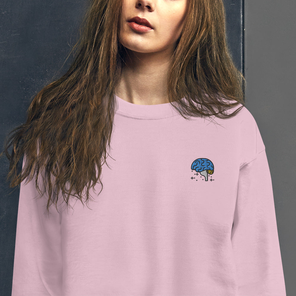 Brainy Girl Sweatshirt Intellectual Embroidered Pullover Crewneck