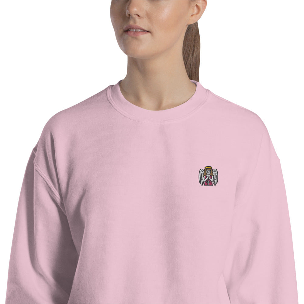 Angel with Cross Sweatshirt Embroidered Pullover Crewneck
