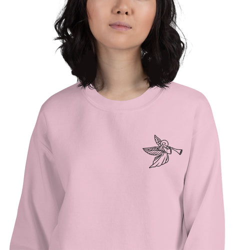 Flute Angel Embroidered Crewneck Sweatshirt for Women
