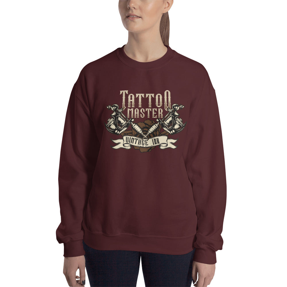 Vintage Ink Tattoo Master Crewneck Sweatshirt for Women