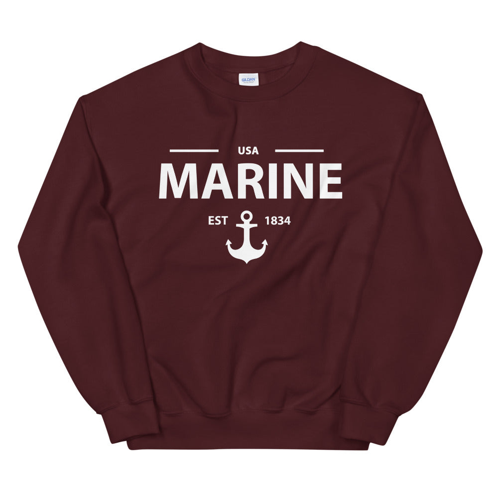 Marine Sweatshirt | USA Marine Anchor Crewneck for Women