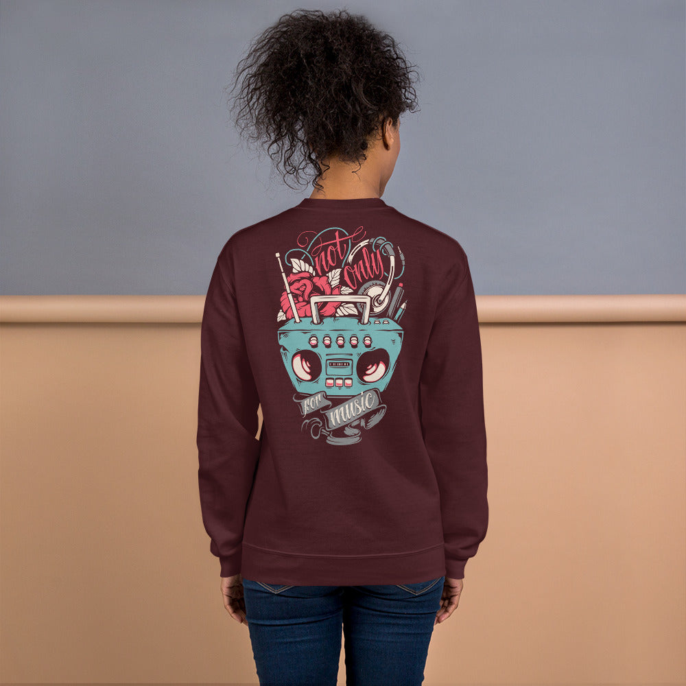 Not Only for Music Crewneck Back Graphic Print Sweatshirt