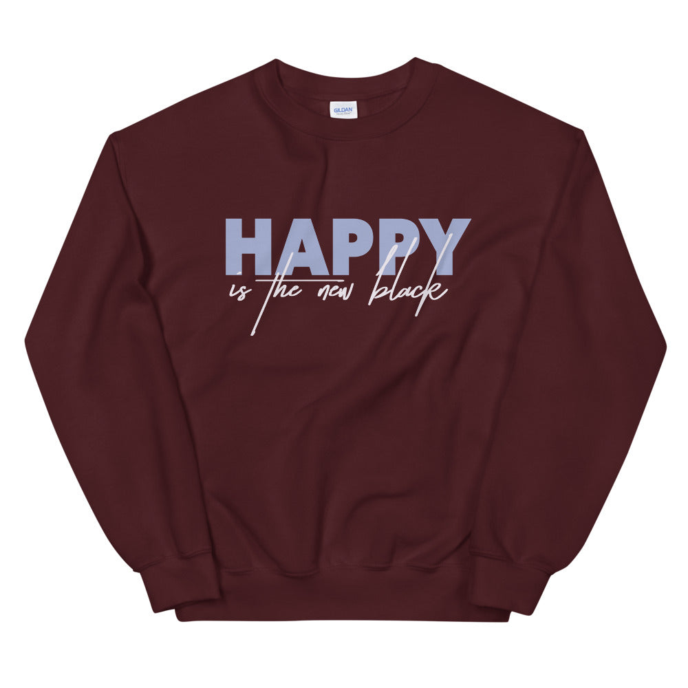 Happy is New Black Crewneck Sweatshirt for Women
