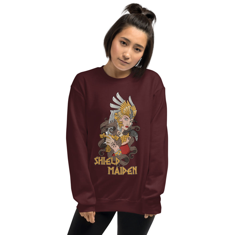 Viking Queen Shield Maiden Crewneck Sweatshirt for Women