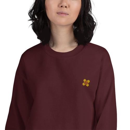Band Aid Heart Broken Embroidered Pullover Crewneck Sweatshirt