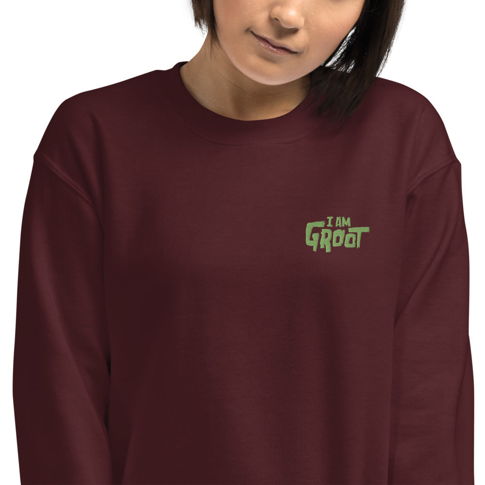 I am Groot Meme Embroidered Pullover Crewneck Sweatshirt