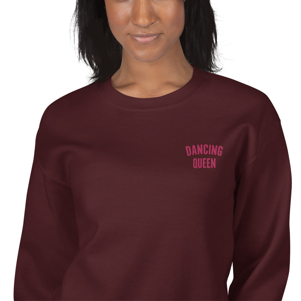 Dancing Queen Embroidered Pullover Crewneck Sweatshirt