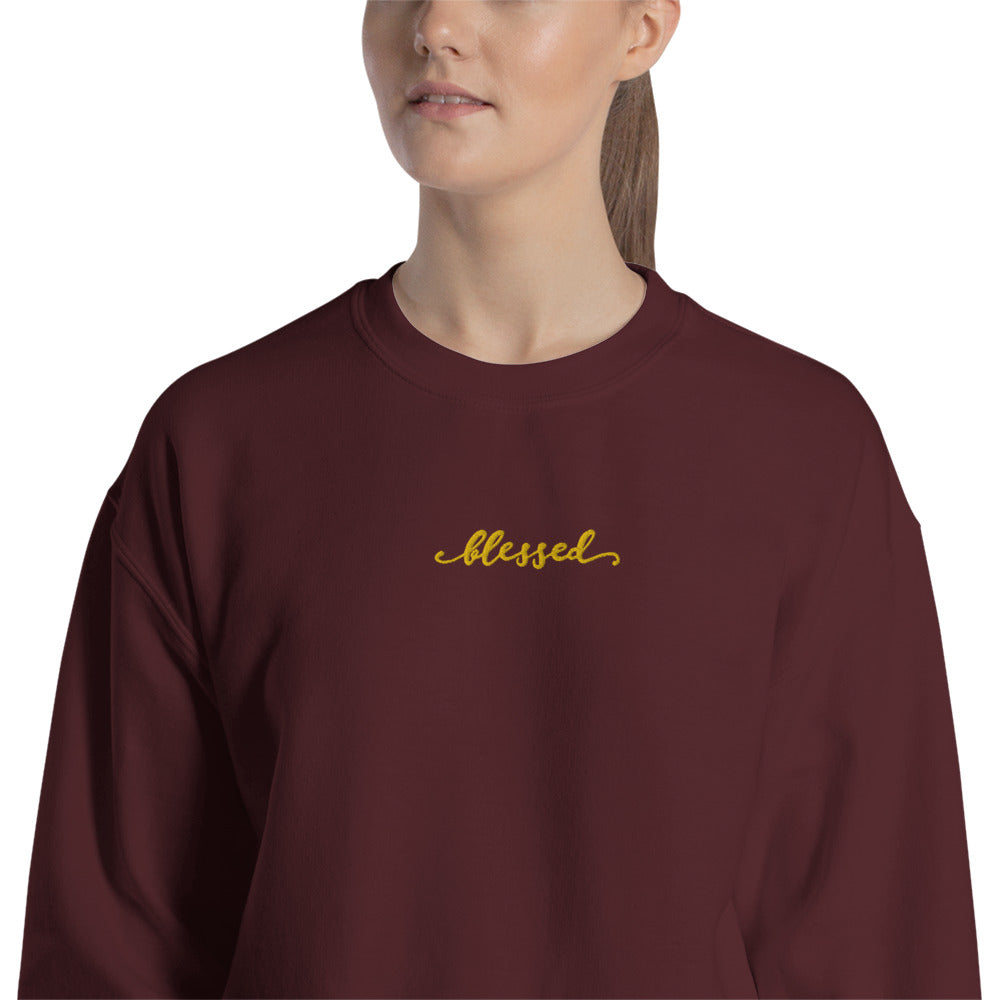 Blessed Sweatshirt Embroidered Feeling Adored Pullover Crewneck