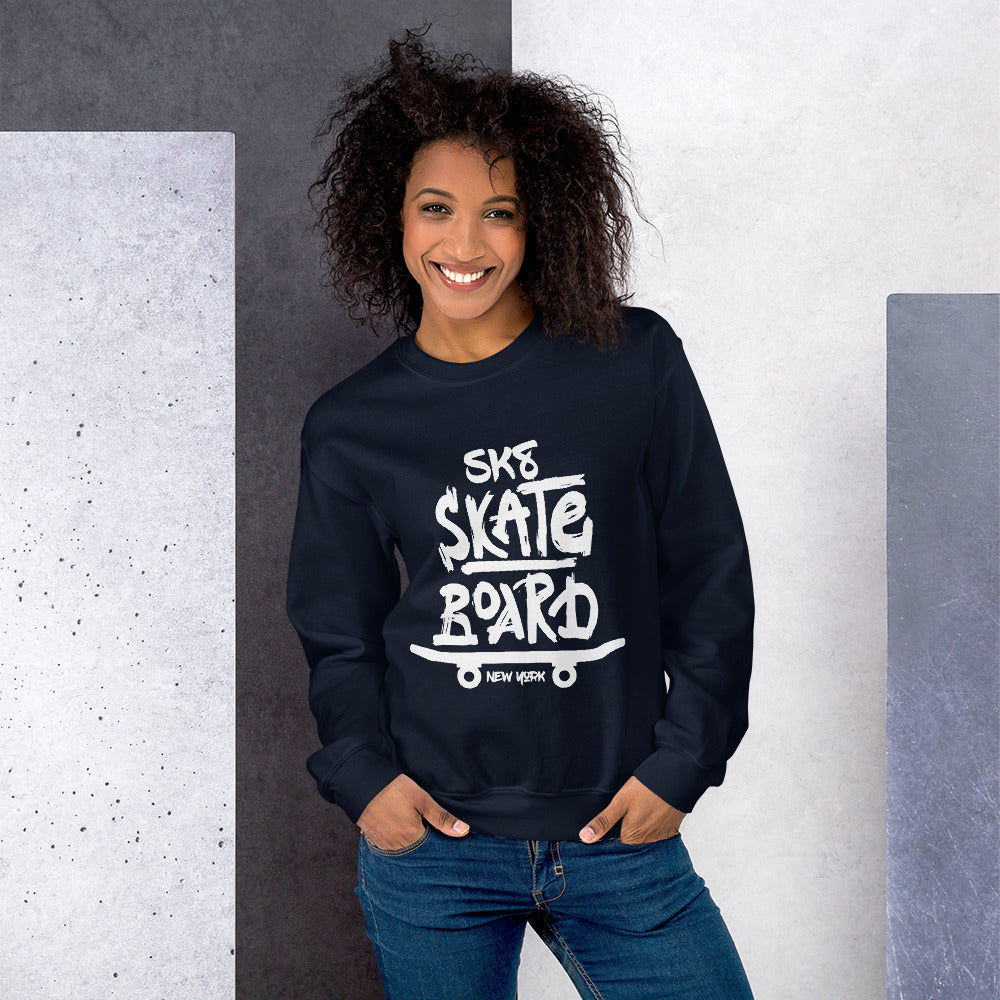 Sk8 SkateBoard New York Crewneck Sweatshirt for Women