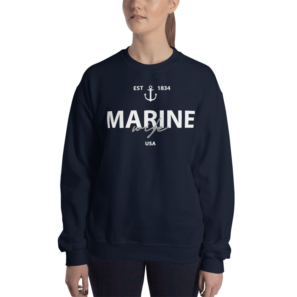 Marine Wife Sweatshirt | US Marine Corp Wife Crew Neck