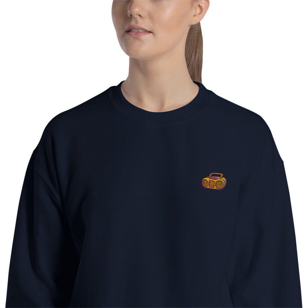 80s Stereo Embroidered Pullover Crewneck Sweatshirt