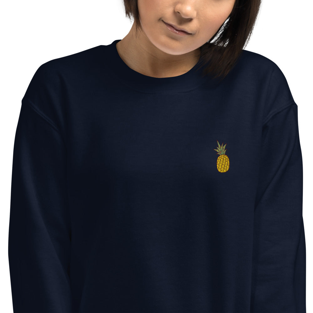 Pineapple Embroidered Pullover Crewneck Sweatshirt