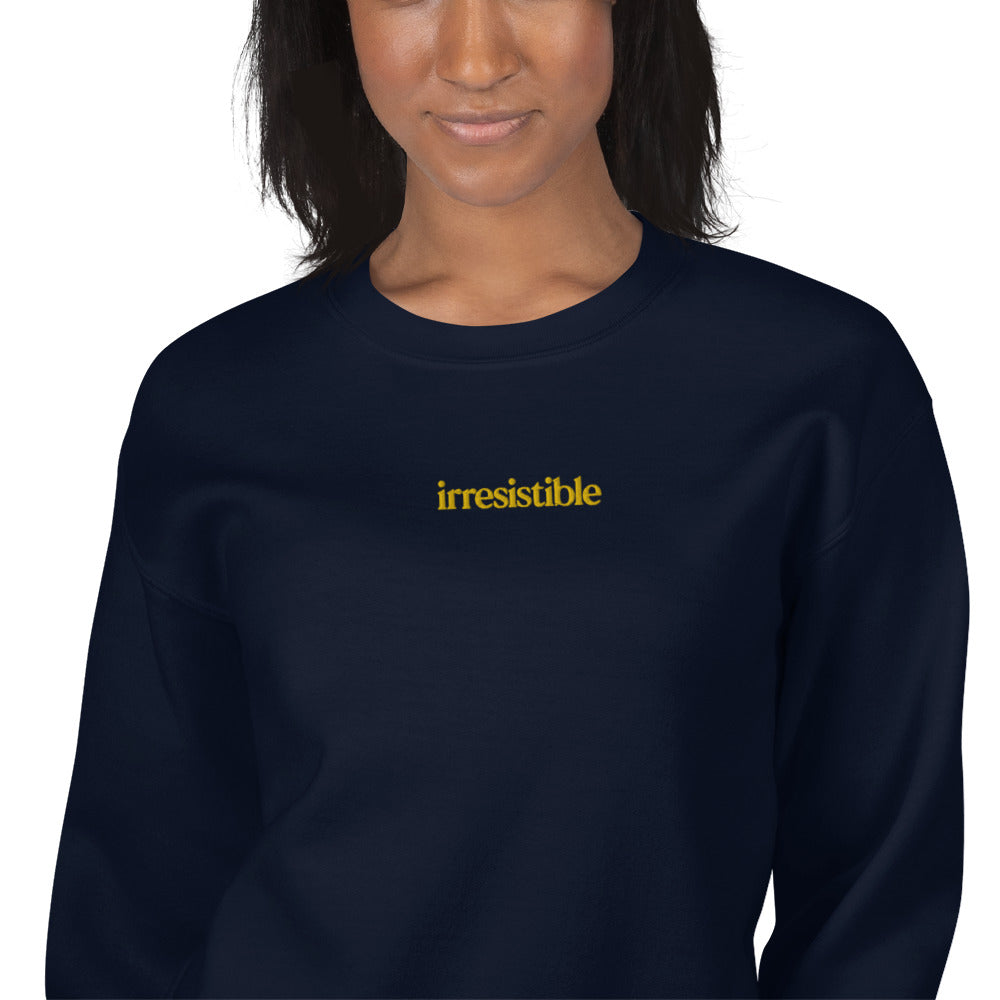 Irresistible Embroidered Pullover Crewneck Sweatshirt for Women