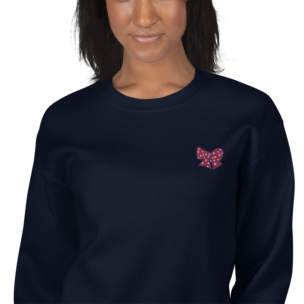 Polka Dot Bow Sweatshirt Embroidered Pullover Crewneck