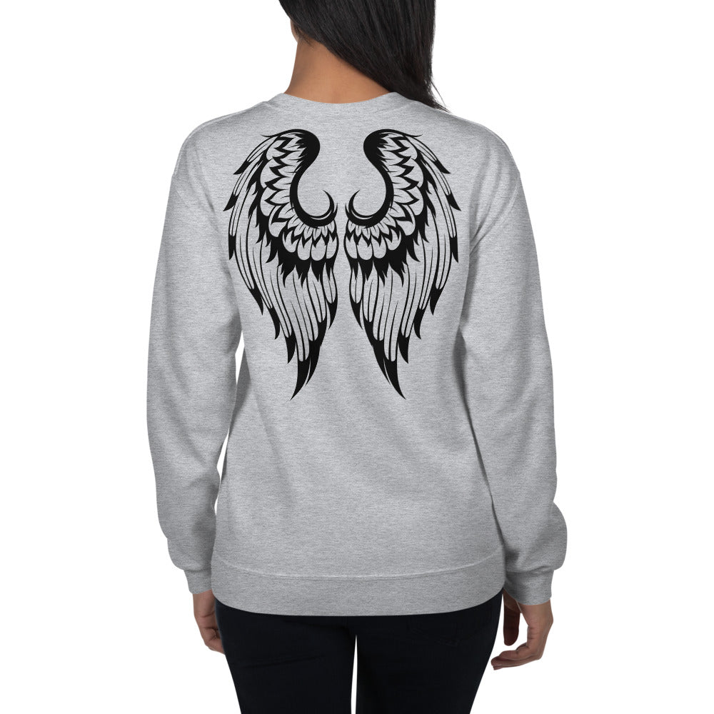 Angel Wings Back Print Crew Neck Sweatshirt for Women
