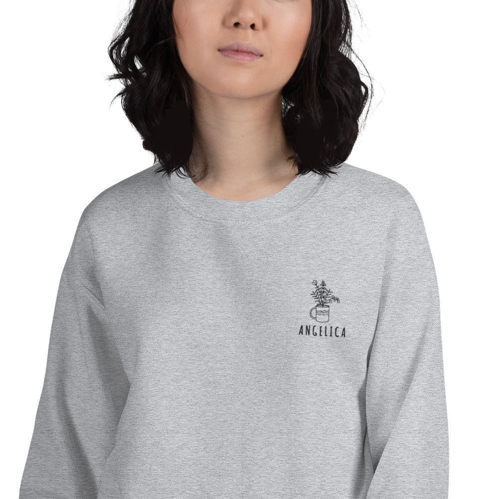 Angelica Sweatshirt | Personalized Name Embroidered Pullover Crewneck