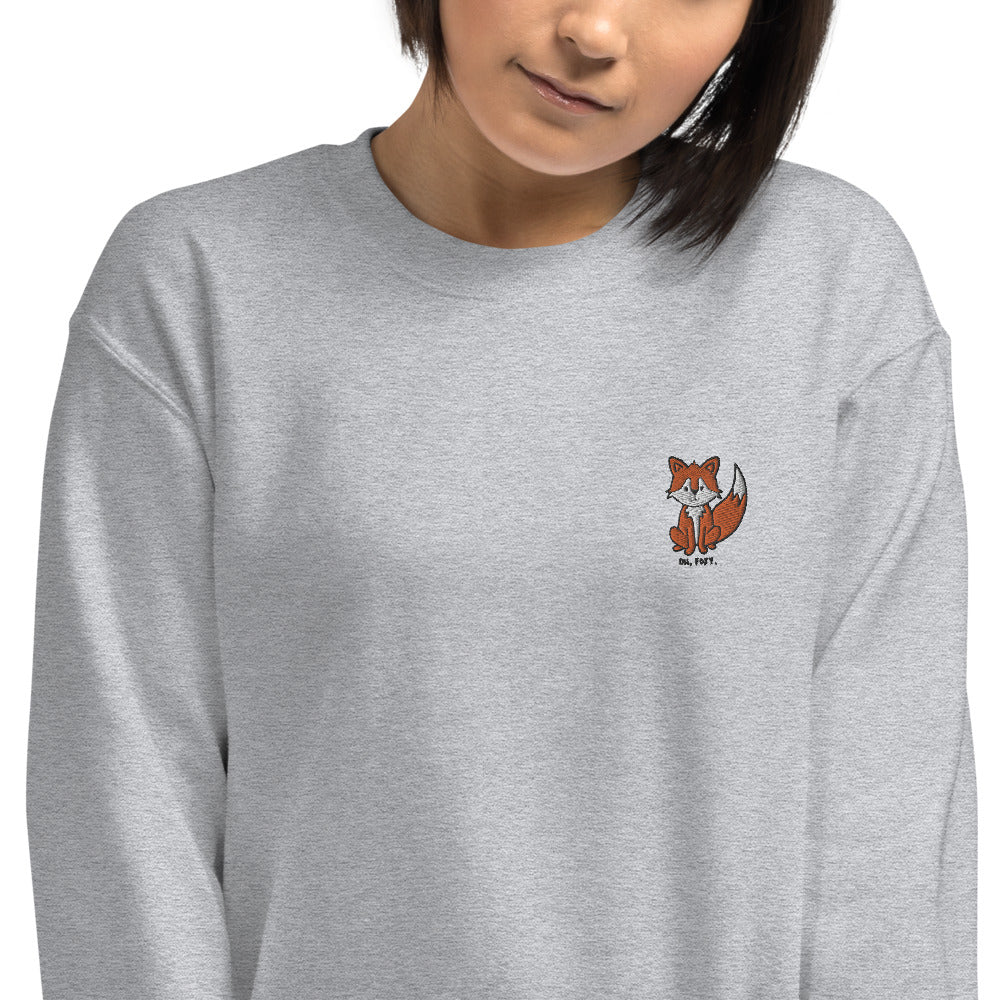 Oh, Foxy Embroidered Pullover Crewneck Sweatshirt for Women