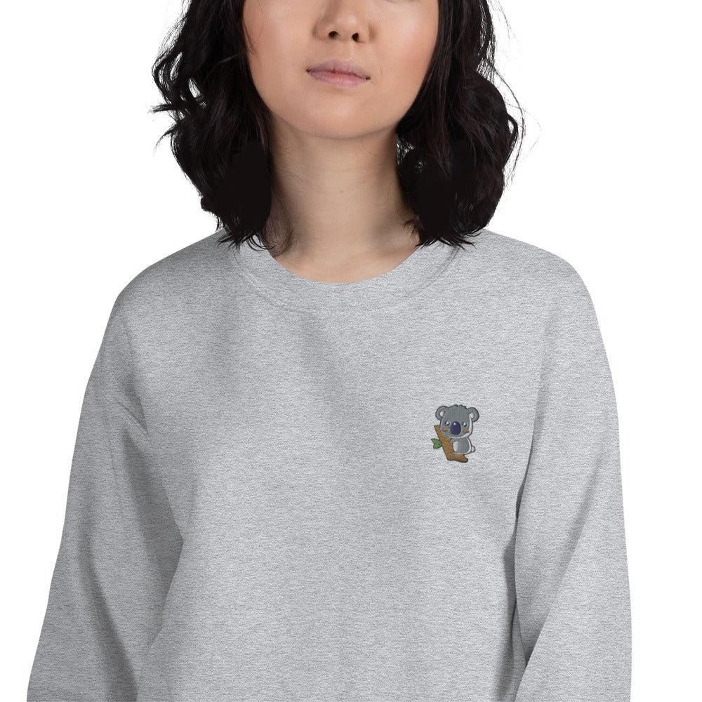 Koala Embroidered Pullover Crewneck Sweatshirt for Women