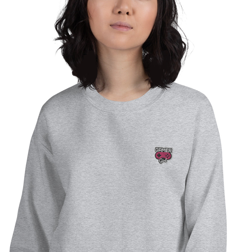 Gamer Girl Custom Embroidered Pullover Crewneck Sweatshirt