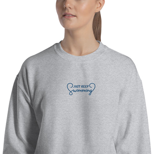 Just Keep Swimming Meme Embroidered Pullover Crewneck Sweatshirt
