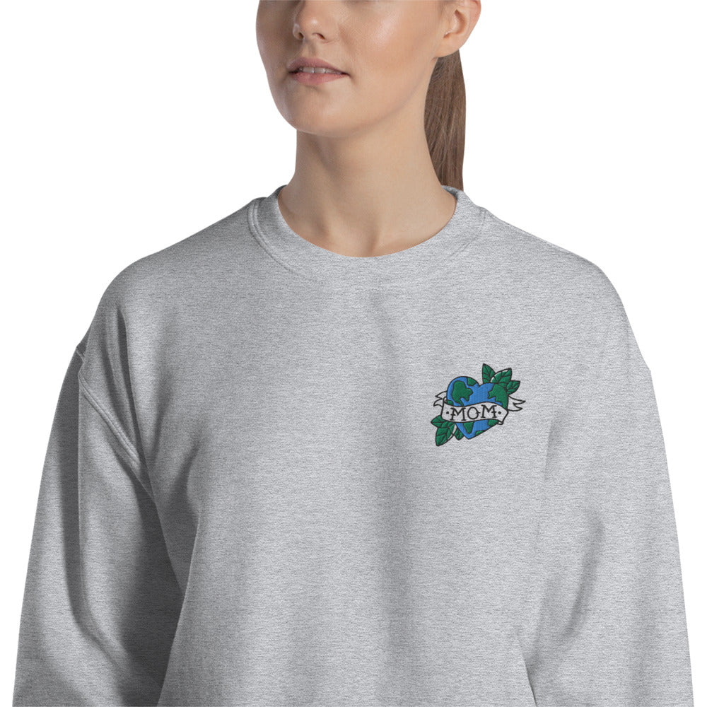 Mother Nature Love Embroidered Mom Crewneck Sweatshirt