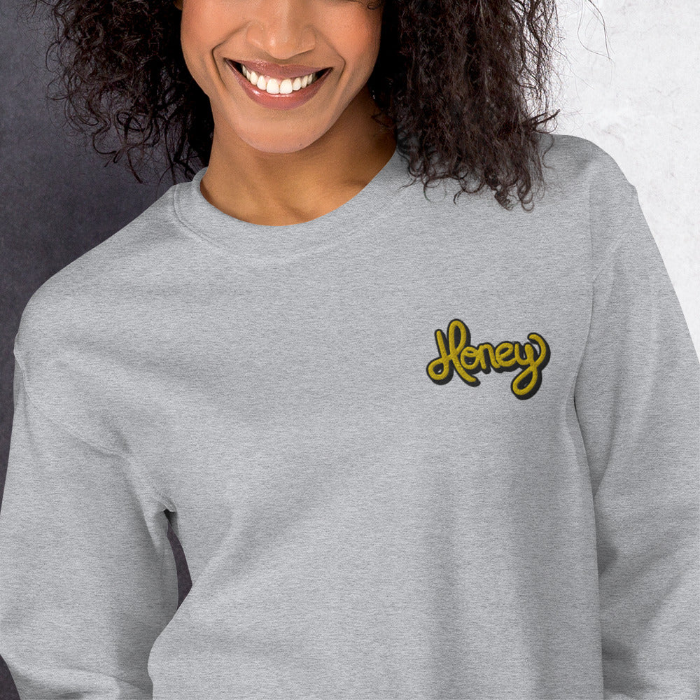 Honey Sweatshirt Custom Embroidered Pullover Crewneck