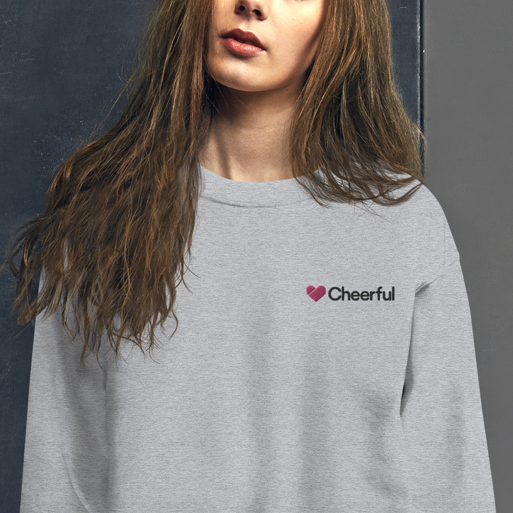 A Cheerful Heart Sweatshirt Embroidered Happy and Optimistic Crewneck