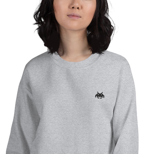 Galaxy Arcade Video Game Bug Embroidered Crewneck Sweatshirt