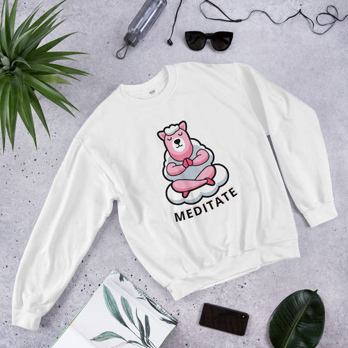 Cute Llama Meditate Crewneck Sweatshirt for Women