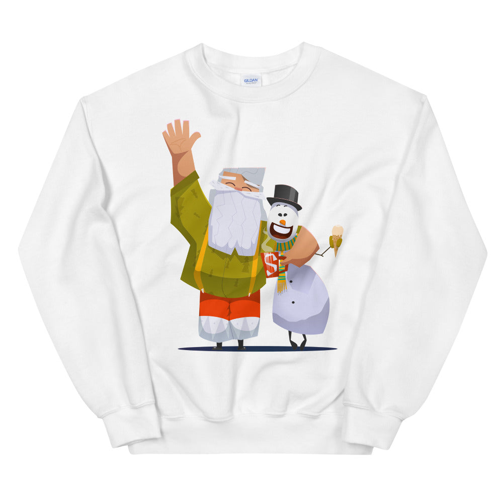 Santa and Snowman Crew Neck Sweatshirt for Women