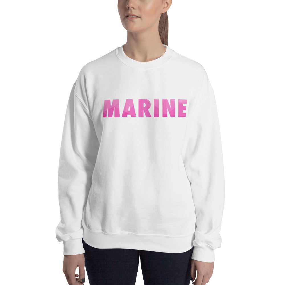 Marine Sweatshirt | Cute Pink One Word Crew Neck for Women