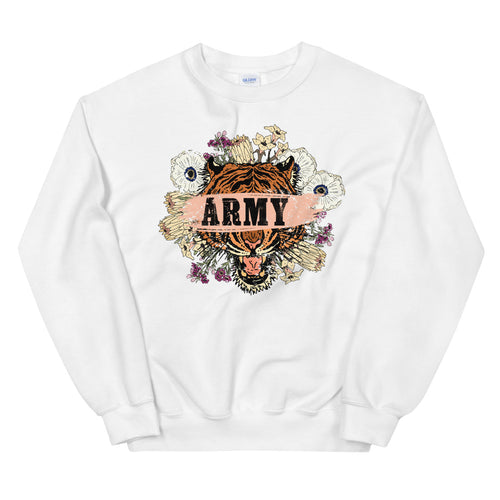 Fearless Tiger Face Army Girlfriend Sweatshirt Crew Neck