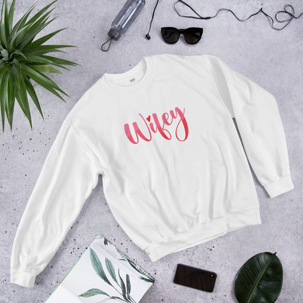 Wifey Sweatshirt | Clean One Word Wifey Crewneck for Hot Wife