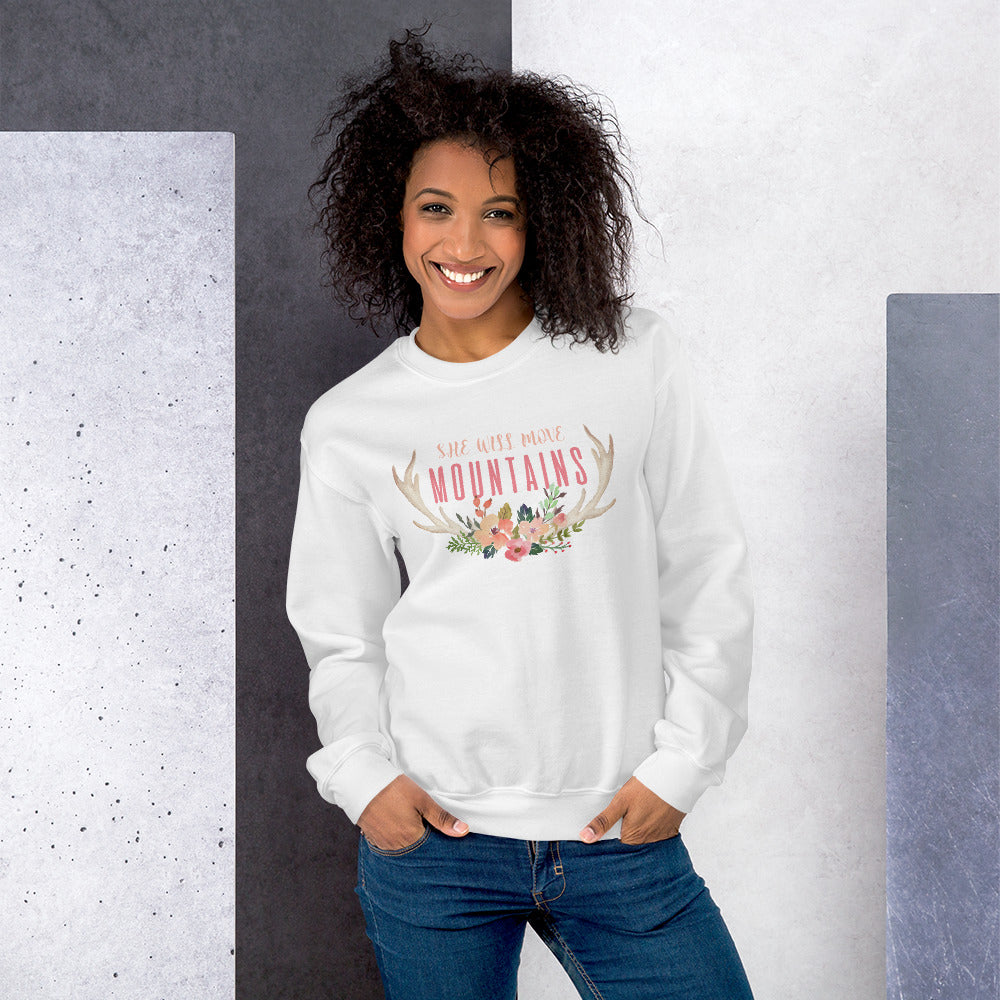 She Will Move Mountains Sweatshirt | Self Esteem Crewneck for Women