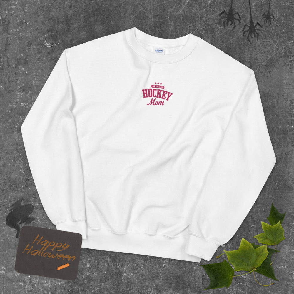 Official Hockey Mom Embroidered Pullover Crewneck Sweatshirt